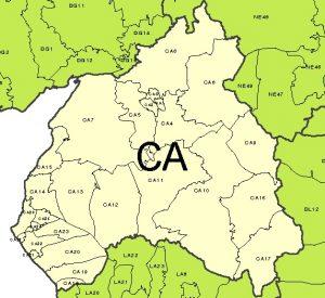 Carlisle CA postcode area map